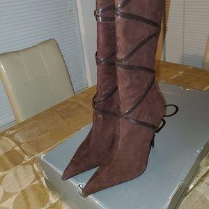 Aldo Berneron-21 Brown Knee-Length Suede Boots.